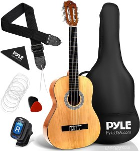 """Pyle 36"""" Classical Acoustic Guitar-3/4 Junior Size 6 Linden Wood Guitar w/Gig Bag, Tuner, Nylon Strings, Picks, Strap, for Beginners, Adults, Right, Natural (PGACLS82)"""