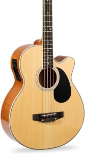 Best Choice Products Acoustic Electric Bass Guitar - Full Size, 4 String, Fretted Bass Guitar – Natural