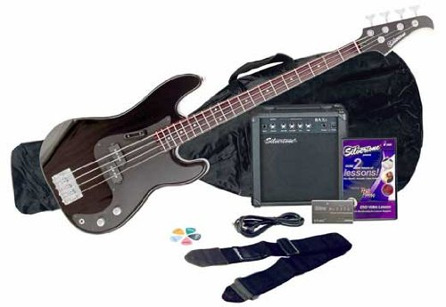 Silvertone Bass Guitar and Amp Package, Liquid Black