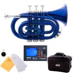 Mendini MPT-BL Blue Lacquer Brass Bb Pocket Trumpet + Tuner, Case, Valve Oil, More