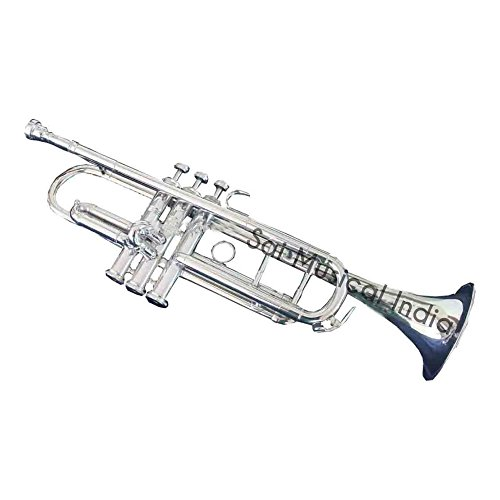 Queen Brass Top Grade Quality Beautifully Crafted Flat Silver Trumpet