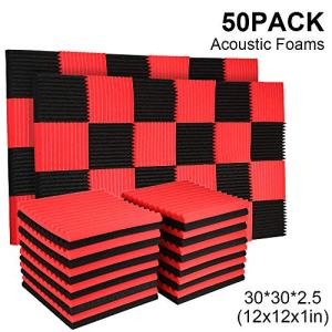 50 Pack Acoustic Panels Soundproof Studio Foam for Walls Sound Absorbing Panels