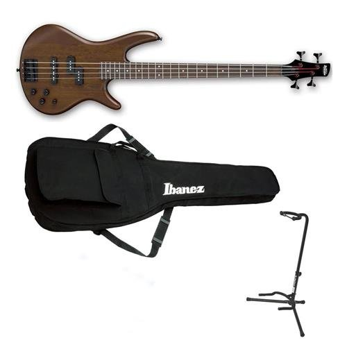 Ibanez GIO Series Electric Bass Guitar, Walnut Flat - Bundle