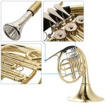 ammoon French Horn B/BB Flat 3 Key Brass Gold Lacquer Single-Row Split Wind Instrument with Cupronickel Mouthpiece Case, Barbell 1 3