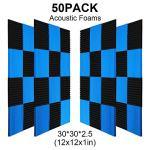 50 Pack All -Black/Blue Acoustic Panels Studio Foam Wedges