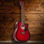 Ashthorpe Full-Size Dreadnought Cutaway Acoustic-Electric Guitar Bundle – Premium Tonewoods – Red 1