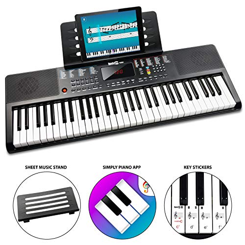 RockJam 61 Portable Electronic Keyboard with Key Note Stickers