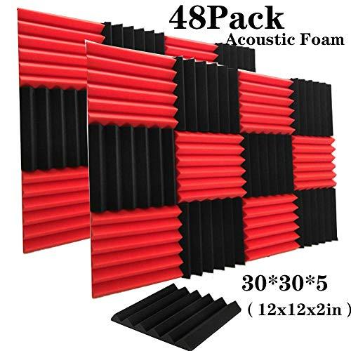 48 Pack Black&Red Acoustic Foam Panels Soundproofing Studio Foam