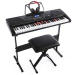 Joy 61-Key Lighting Keyboard with USB Music Player Function, Including Headphone, Stand & Stool (Kl-91MKit)