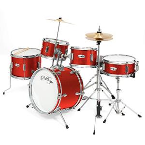 """Ashthorpe 5-Piece Complete Kid's Junior Drum Set with Genuine Brass Cymbals - Children's Professional Kit with 16"""" Bass Drum, Adjustable Throne, Cymbals, Hi-Hats, Pedals & Drumsticks - Red"""