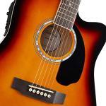 Ashthorpe Full-Size Cutaway Thinline Acoustic-Electric Guitar Package – Premium Tonewoods – Sunburst 3