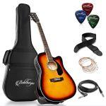 Ashthorpe Full-Size Cutaway Thinline Acoustic-Electric Guitar Package – Premium Tonewoods – Sunburst