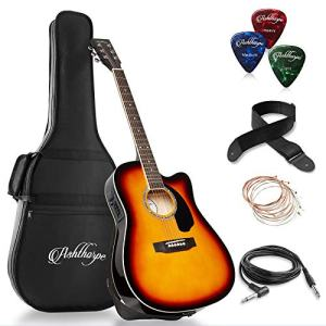 Ashthorpe Full-Size Cutaway Thinline Acoustic-Electric Guitar Package
