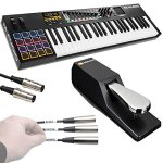 M-Audio Code 49 Black | 49-Key USB MIDI Keyboard Controller with X/Y Touch Pad (16 Drum Pads / 9 Faders / 8 Encoders) + Universal Pedal + Pro MIDI Cable + Label Kit – Top Value M-audio Accessory Kit!!