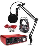 Focusrite Scarlett 2i2 Studio Audio Interface Recording Bundle with Headphones, Microphone, Knox Studio Stand, XLR Cable and Pop Filter