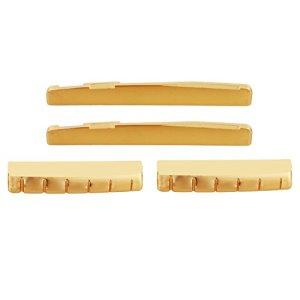 74mm Bridge Saddle & 43mm Nut Gold Brass 6-String Guitar Bridge Saddle Nut