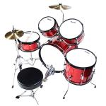Mendini by Cecilio 16 inch 5-Piece Complete Kids / Junior Drum Set with Adjustable Throne, Cymbal, Pedal & Drumsticks, Metallic Bright Red, MJDS-5-BR 1
