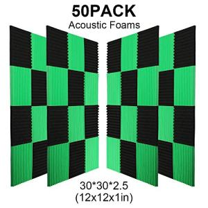 50 Pack -Black Acoustic Panels Studio Foam Wedges