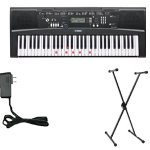 Yamaha EZ220 Keyboard with Lighted Keys – Includes X-Style Stand and Power Adapter