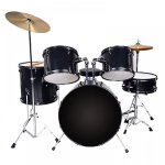 New Black Drum Set 5 PC Complete Adult Set Cymbals Full Size Adult Drum Set J05 1
