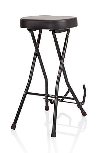 Gator Frameworks Foldable Guitar Stool with Padded Seat and Rear Mounted Guitar Hanger; (GFW-GTRSTOOL)