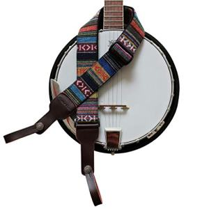Soft Cotton & Genuine Leather Delux Banjo Strap,