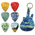 Guitar Picks – LIZIMANDU 12 Medium Gauge Celluloid Guitar Picks In Guitar Shaped Picks Holder. Unique Guitar Gift For Bass, Electric & Acoustic Guitars (Starry Sky1)