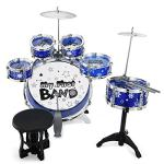 Reditmo Kids Jazz Drum Set, 6 Drums, 2 Cymbals, Chair, Kick Pedal, 2 Drumsticks, Stool