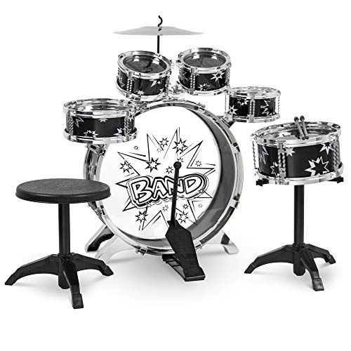 Best Choice Products 11-Piece Kids Starter Drum Set w/Bass Drum, Tom Drums, Snare, Cymbal, Stool, Drumsticks - Black