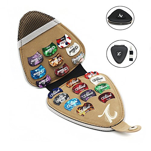 Guitar Picks Holder Case PU Leather Guitar Plectrums Bag Case with 20Pcs Mixed Thickness Variety Pack Colorful Acoustic Electric Guitar Picks Gift for Guitar Players