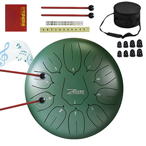 ZHRUNS Steel Tongue Drum 11 Notes 10 inches Percussion Instrument with Travel Bag and Mallets, Music Book, Finger Picks(11 Note, green)