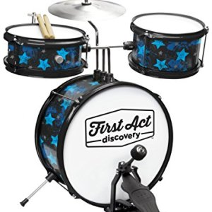 First Act Discovery Drum Set & Seat, Blue Stars