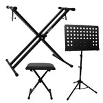 ChromaCast Electronic Keyboard Stand, Padded Seat and Music Sheet Stand Bundle