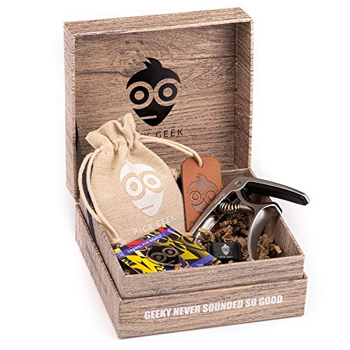 Pick Geek Guitar Pick Capo Bundle Set | 33 x Premium Assorted Guitar Picks | Django Silver Quick-Release Capo Clamp | FREE Pick Geek 'wedgie' Pick Holder plus Enamel Pin | Gifted in Stunning Gift Box