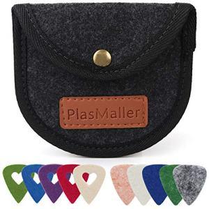 PlasMaller Guitar Pick Holders Case Bag with 10 Felt Picks, Black