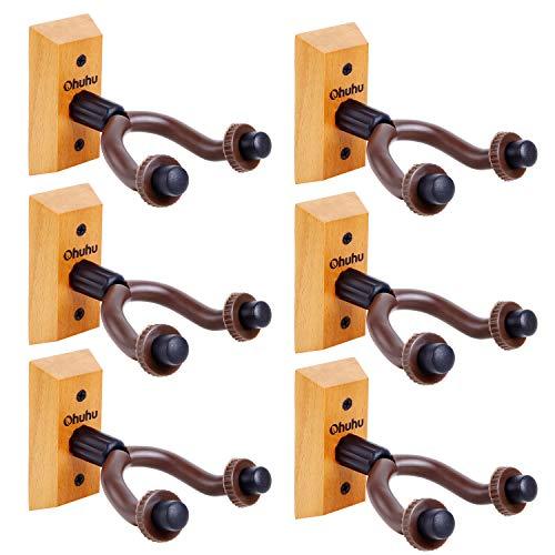Guitar Wall Mount Hanger 6-Pack, Ohuhu Guitar Hanger Wall Hook Holder Stand for Bass Electric Acoustic Guitar Ukulele
