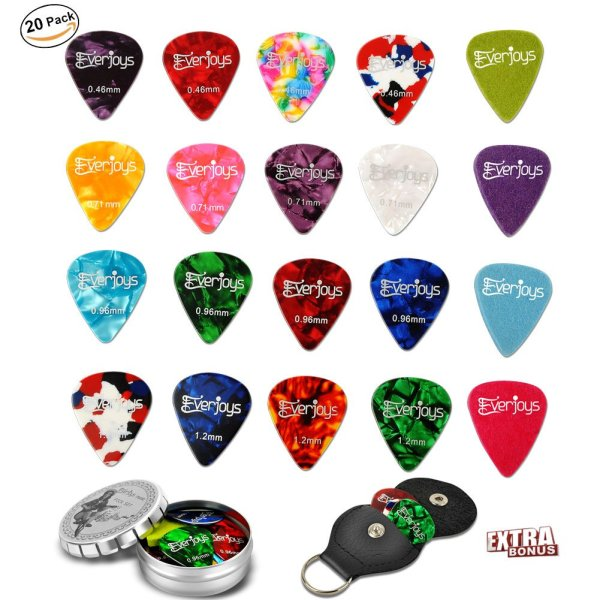 Guitar Picks - 20Pack Celluloid and Felt Picks for Guitar Bass Ukulele Includes Thin, Medium, Heavy & Extra Heavy Gauges with Leather Pick Holder & Tin Box Limited Time Deal Instagram 10000+ likes