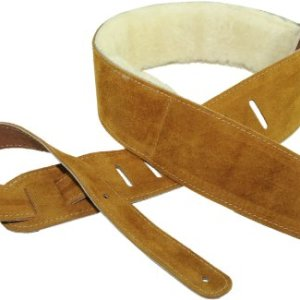 "Perri's Leathers Ltd. Guitar Strap, 2.5"" Wide Soft Suede, Super Soft Sheepskin Fur Pad, Adjustable Length, (DL325S-200) Natural, Made in Canada"