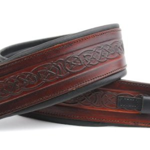 Celtic Brown Leather Padded Banjo Strap - UK Made