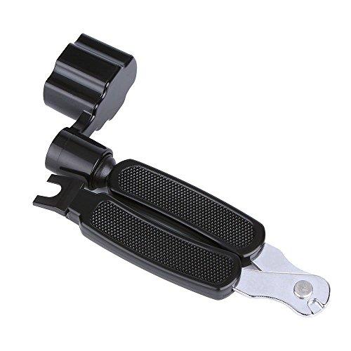 CLOUDMUSIC 3 In 1 Bridge Pin Puller String Cutter String Peg Winder For Guitar Ukulele Stringed Instruments (Black)