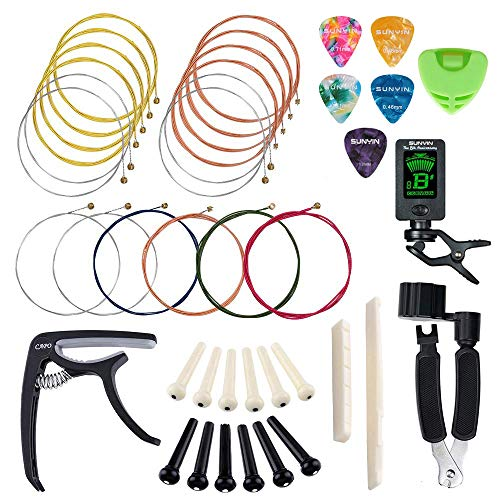 SUNYIN Guitar Strings Replace Tool Kit,3 sets of Acoustic Guitar Strings,Guitar Capo,String Winder,Bridge Pins,Pin Puller,Guitar Bones,Guitar Picks & Holder For Beginner