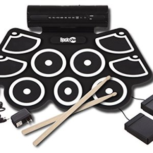 RockJam Portable MIDI Electronic Roll Up Drum Kit with Built in Speakers, Power Supply, Foot Pedals and Drumsticks