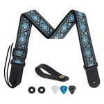 Guitar Strap, Tifanso Jacquard Weave Guitar Strap with Genuine Leather Ends – Soft Adjustable Acoustic Guitar Strap for Electric Bass, Come With Strap Button, 1 Pair Strap Locks and 3 Guitar Picks