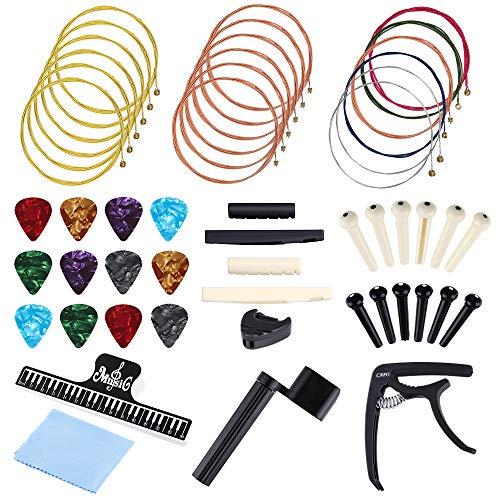 Auihiay 51 PCS Acoustic Guitar Strings Kit Include Guitar Strings, Guitar Capo, Music Book Clip, Guitar Picks, String Winder, Bridge Pins, Cleaning Cloth