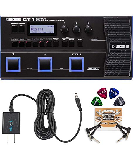 BOSS GT-1 Guitar Multi-Effects Processor Bundle with BOSS Tone Studio, Blucoil 9V DC Power Supply, 2-Pack of Pedal Patch Cables, and 4-Pack of Celluloid Guitar Picks
