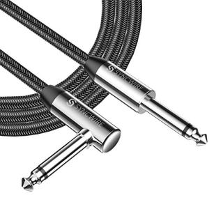 """Syncwire Professional Guitar Lead 6M/19.68ft, 6.35mm 1/4"""" Right Angled Jack Nylon Braided Guitar Instrument Cable for Electric Guitar, Bass, Amp, Keyboard, Mandolin, Mixing Desks - STR/ANG - Black"""