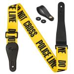 "Rinastore Guitar Strap Yellow""POLICE LINE"" Includes Strap Button & 2 Strap Locks For Bass, Electric & Acoustic Guitars (Yellow)"