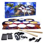 Rock And Roll It – Drum Live! Flexible, Completely Portable, battery OR USB powered drum that gives you the view of being on stage. Headphones + 2 Drum Sticks + Bass Drum & Hi hat pedals included!