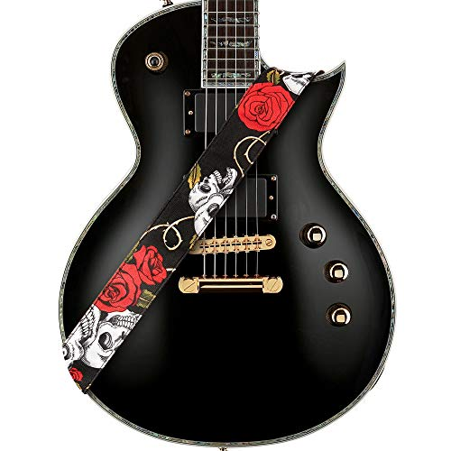 """Amumu Skull Rose Guitar Strap Red Denim for Acoustic, Electric and Bass Guitars with Strap Blocks & Headstock Strap Tie - 2"""" Wide"""