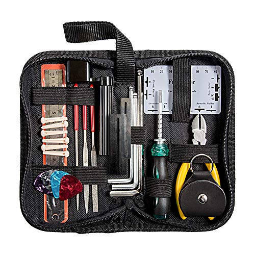 YZNlife Guitar Repair tool Kit -Guitar Maintenance Cleaning Tool Kit Includes String Organizer & String Action Ruler & Gauge Measuring Tool & Hex Wrench Set & Files for Guitar Ukulele Bass Mandolin Ba